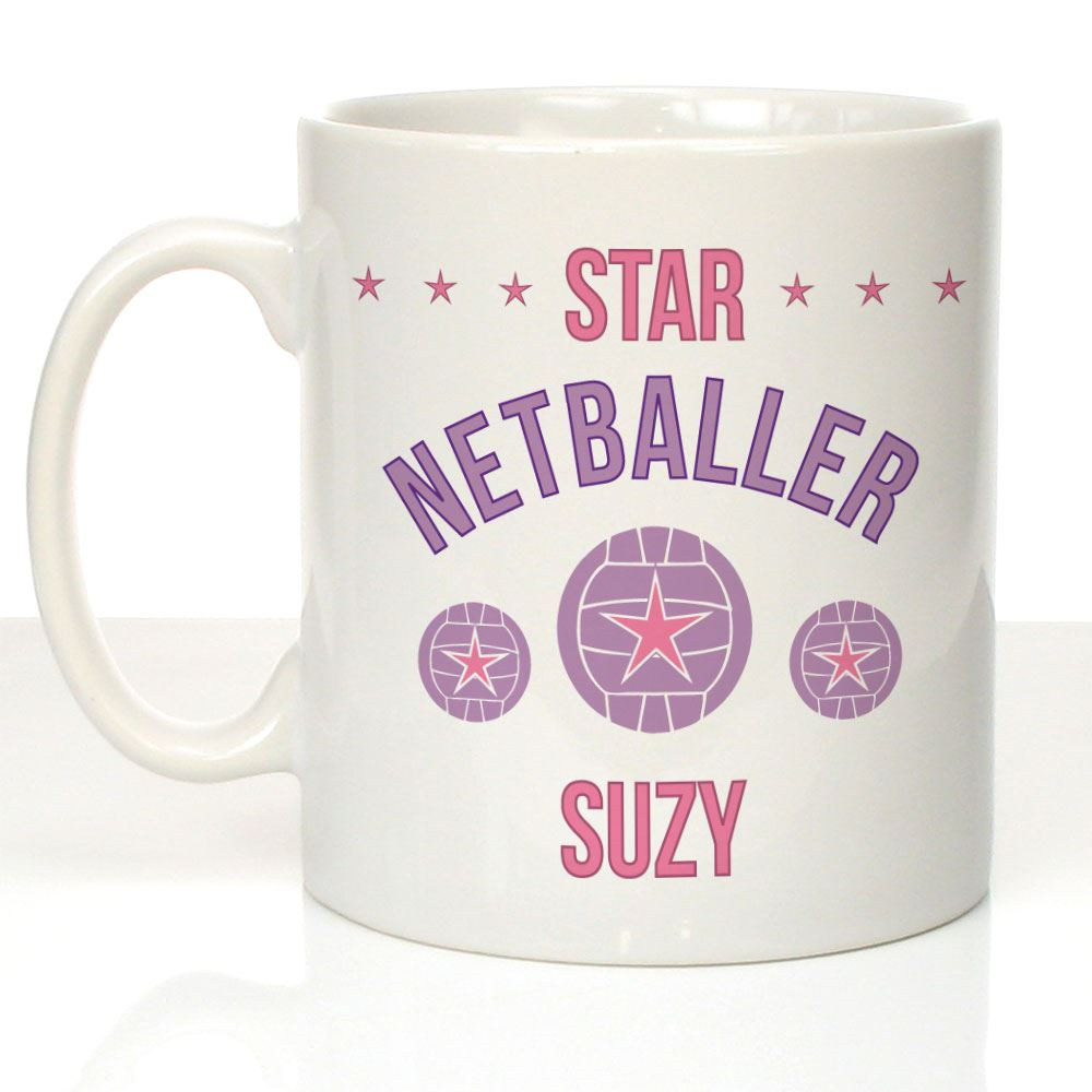 08101b460f5 Personalised Star Netballer Mug Netball Player Gift Ideas Sports Gifts for  Her