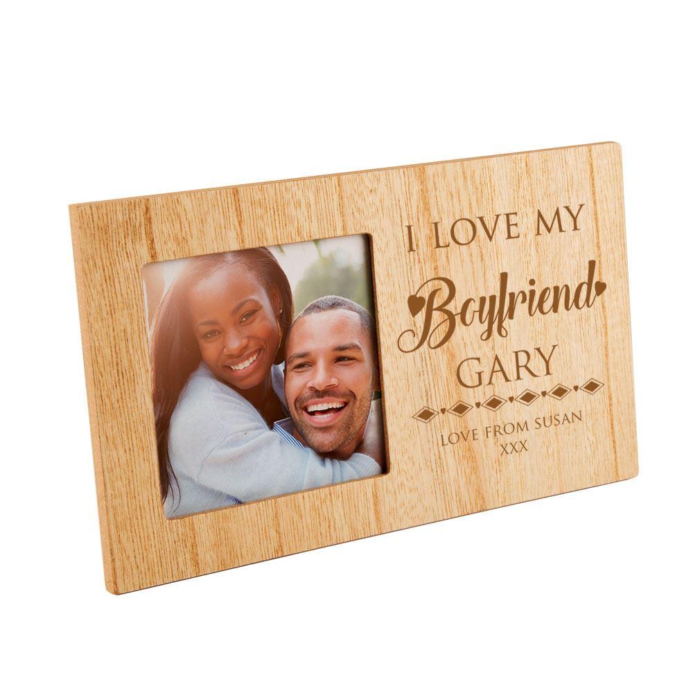 Bespoke I Love My Boyfriend Wooden Photo Frame Birthday Gift Xmas Present