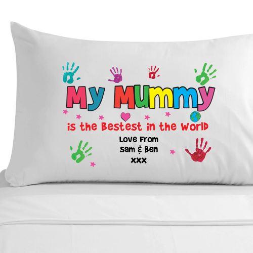 Personalised Best Mummy Handprint Pillowcase Mum Mam