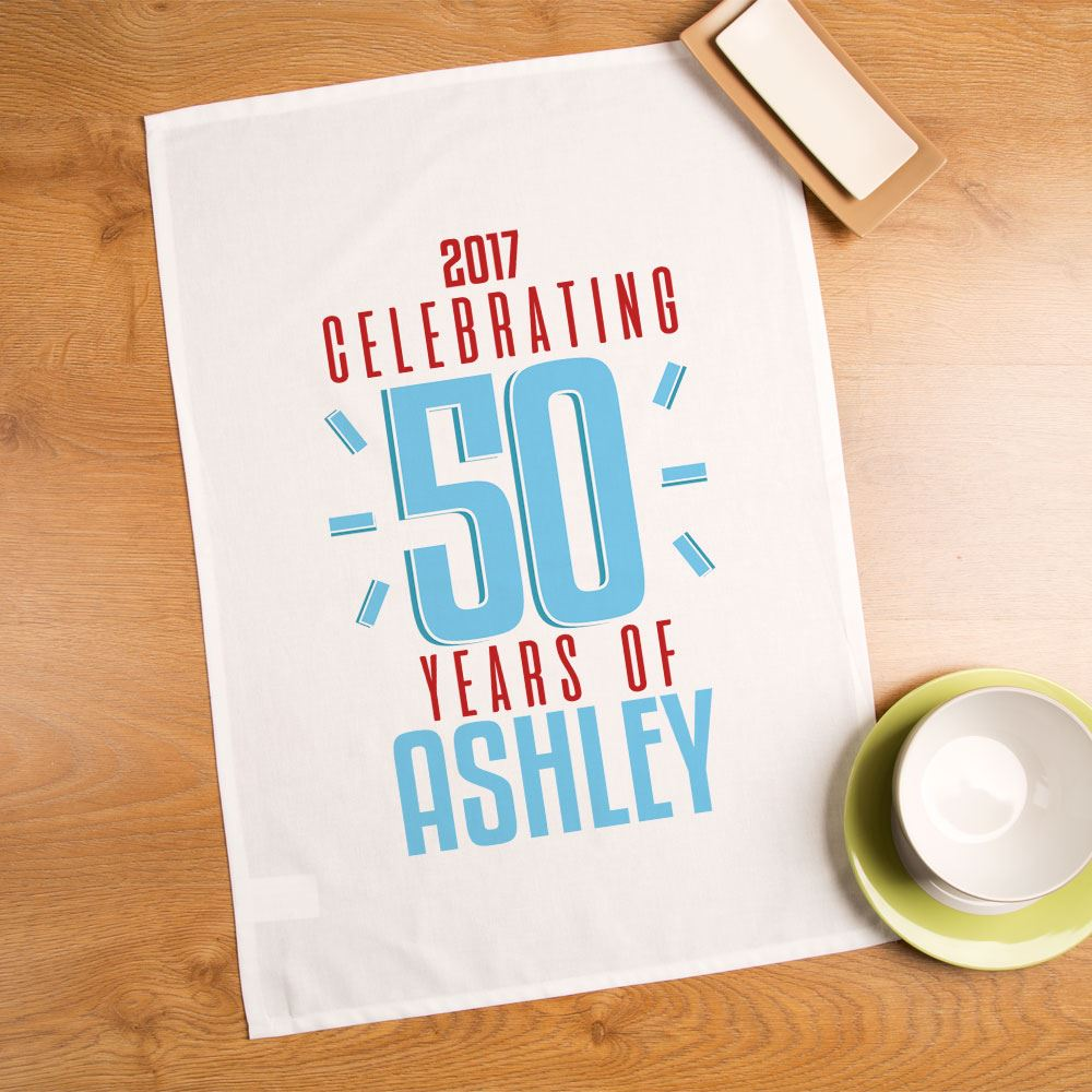 Details About Personalised 50th Birthday Tea Towel Novelty Memento Gifts For Her Unique