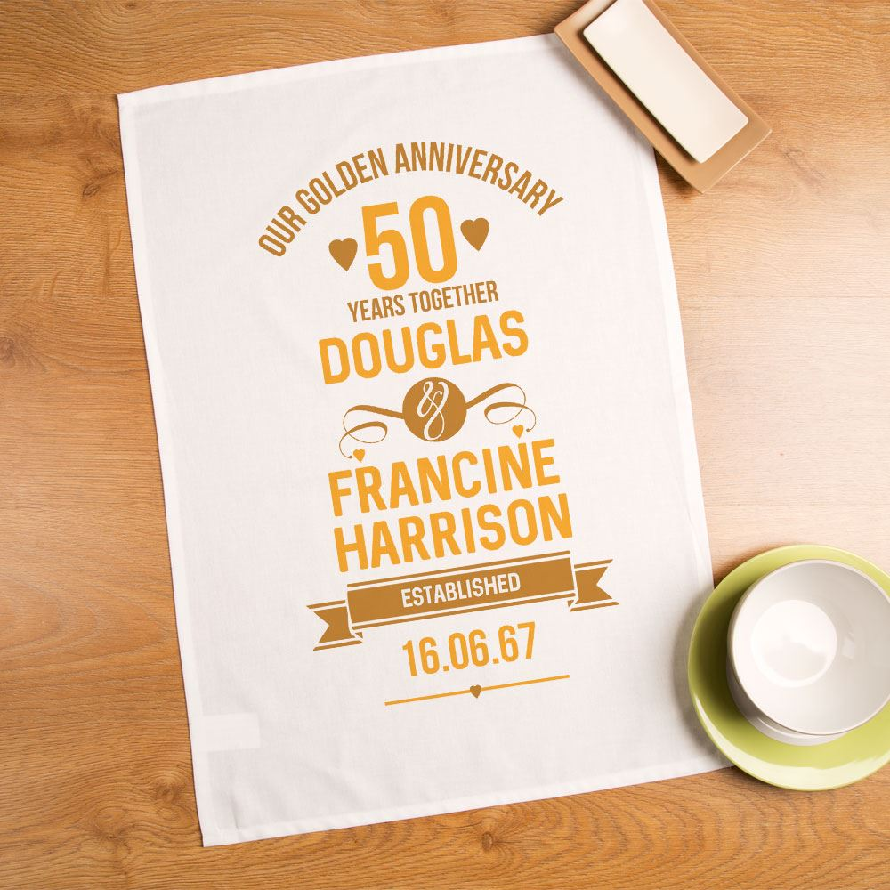 Personalised 50th Golden Wedding Anniversary Tea Towel Gifts For