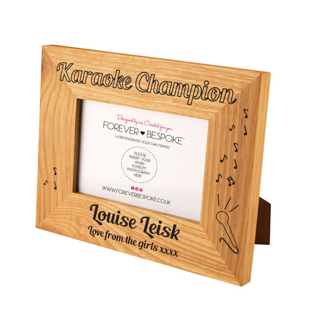 6c81b49c0980 Details about Personalised Engraved Karaoke Champion Oak Frame