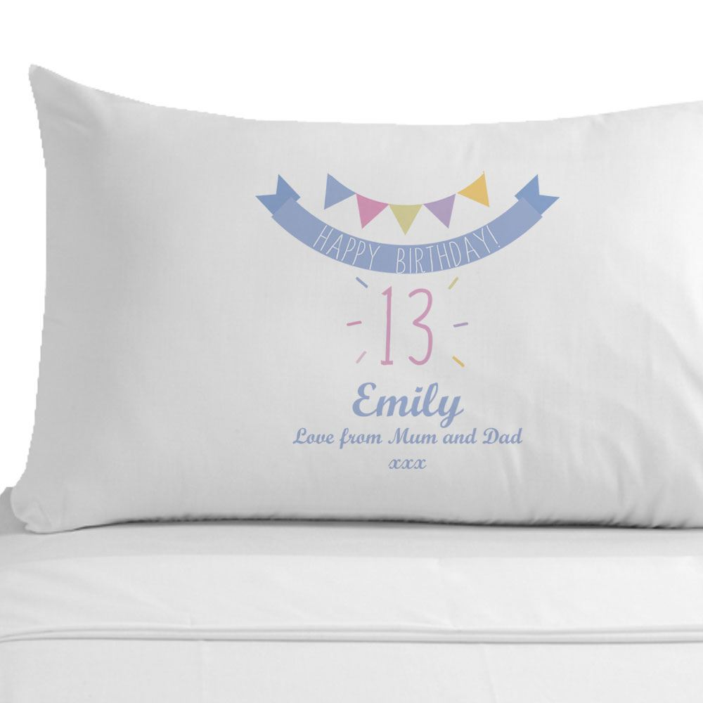 Personalised Happy 13th Birthday Pillowcase Girls Teenager Bedroom