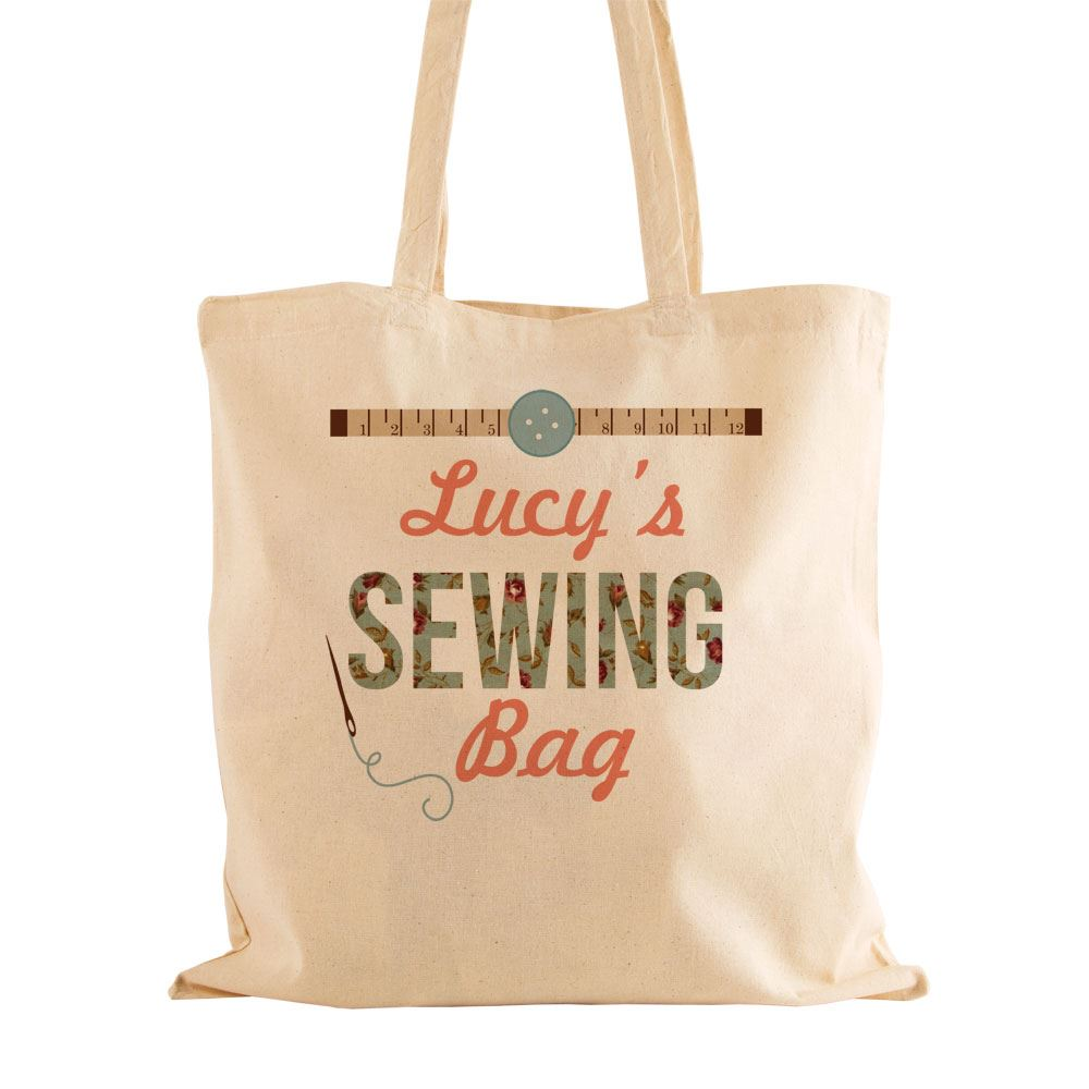 personalised sewing natural cotton bag sewer keepsake unique gifts