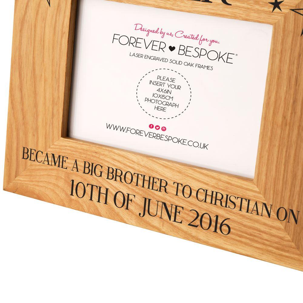 Personalised Became a Big Brother Oak Frame, Custom New Sibling ...