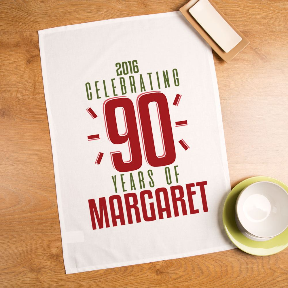 Personalised 90th Birthday Tea Towel, Unique Gift for Her, Memento Gift Ideas