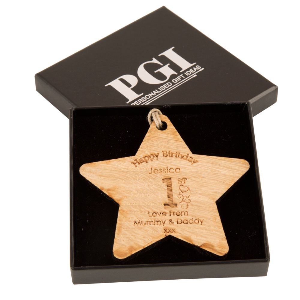 Personalised 1st Birthday Wooden Star First Gift Customised Baby