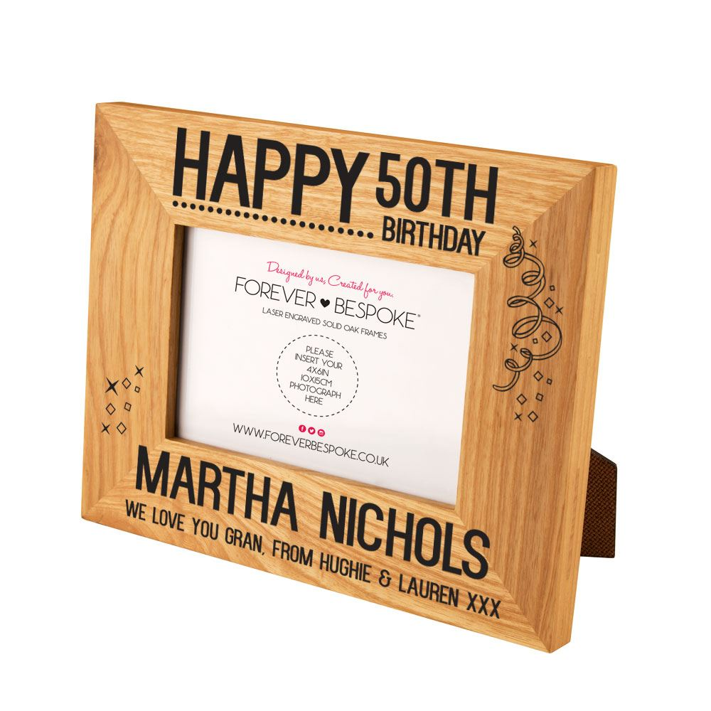 Happy 50th Birthday Personalised Oak Photo Frame Unique Landmark