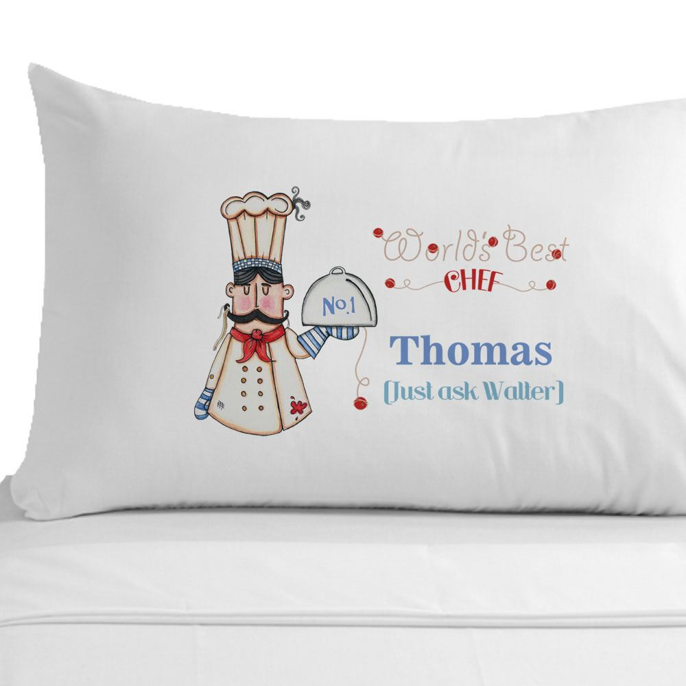 Details about Personalised World's Best Chef (male) Pillowcase Cooking Gifts Home Accessory