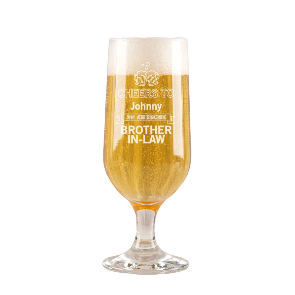 Personalised Cheers Brother In Law Beer Glass Birthday Gift
