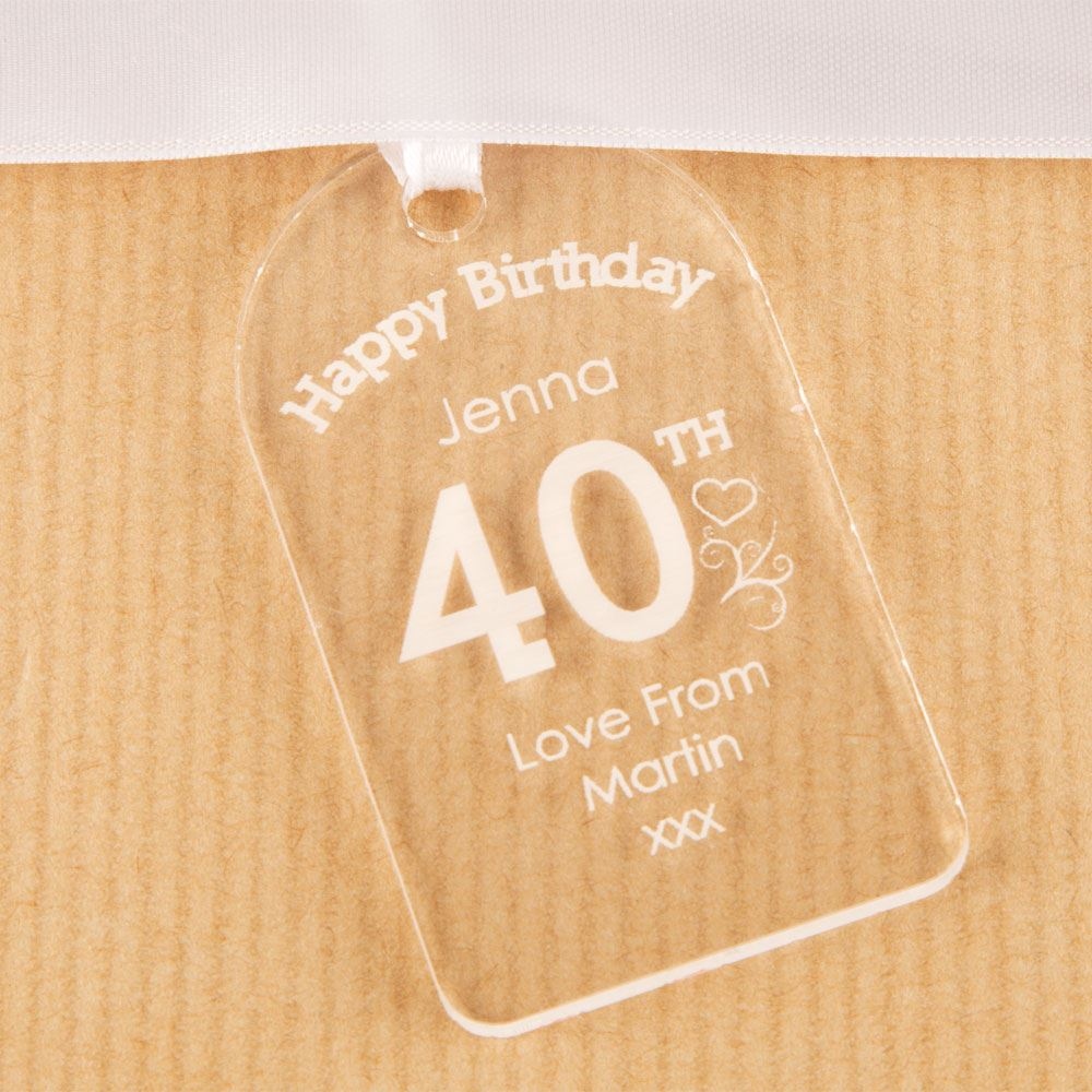 Details About Personalised 40th Birthday Bottle Tag Clear Acrylic Girl Gift Idea For Her New