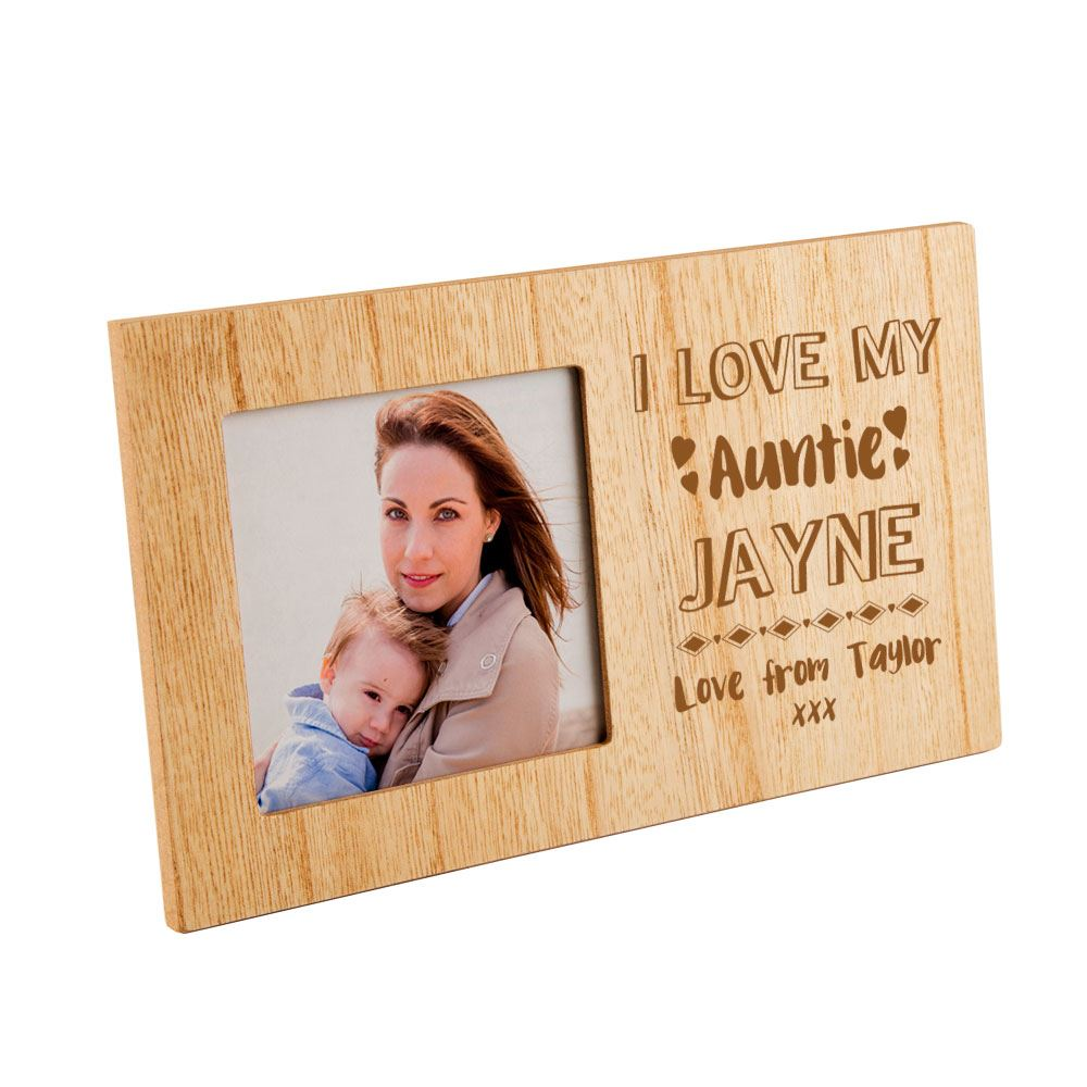Personalised I Love My Auntie Wooden Photo Frame Xmas Present