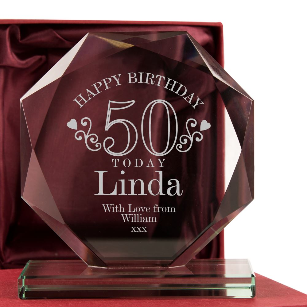 Engraved 50th Birthday Glass Award For Her 50 Glassware Gift Ideas Female Gifts
