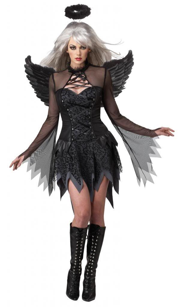 FALLEN ANGEL COSTUME  sc 1 st  eBay & DARK FALLEN ANGEL HALLOWEEN FANCY DRESS COSTUME ADULT LADIES BLACK ...