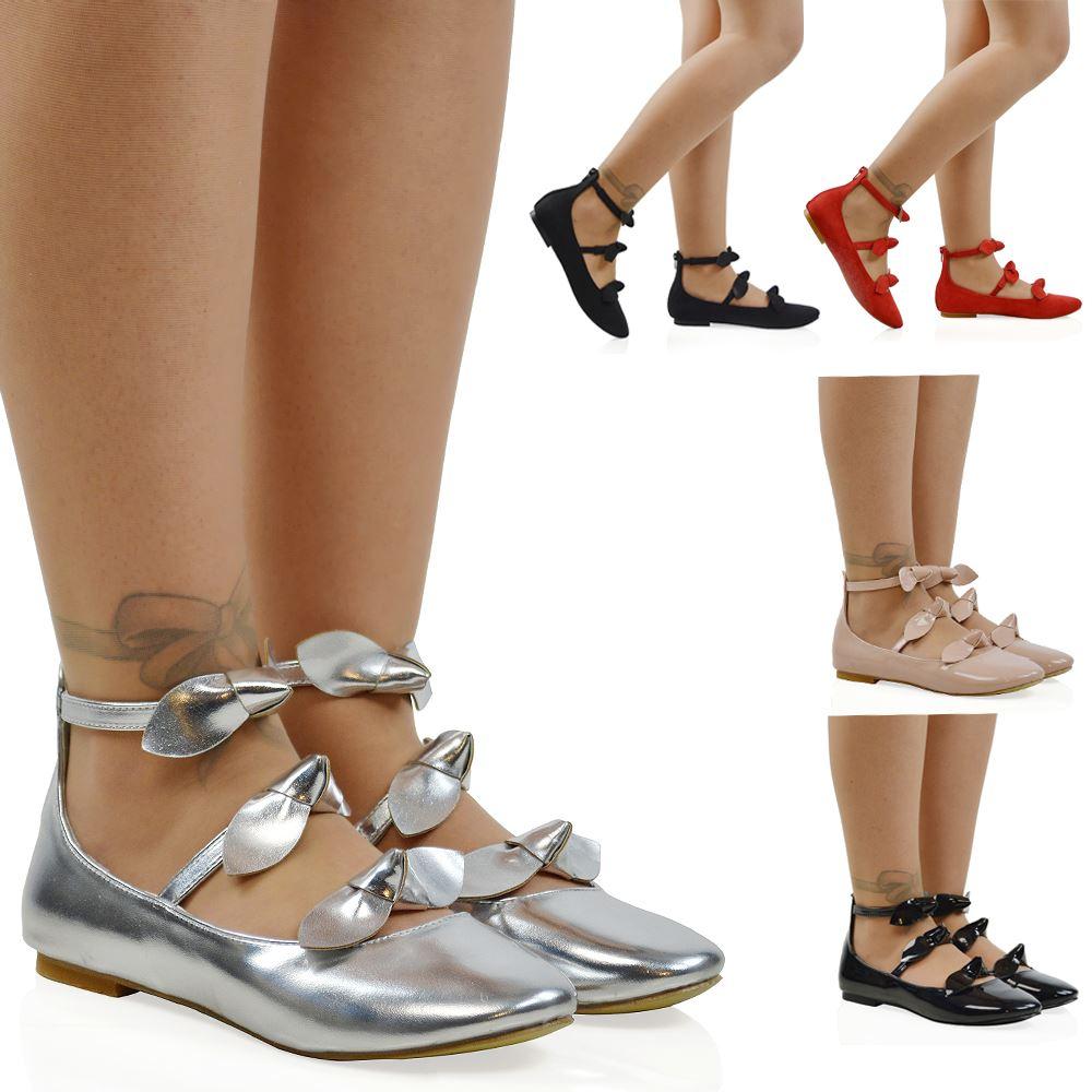 Mujer Tira en Tobillo Zapatillas bajas Damas Lazo Bailarina Tiras Dolly Zapatos