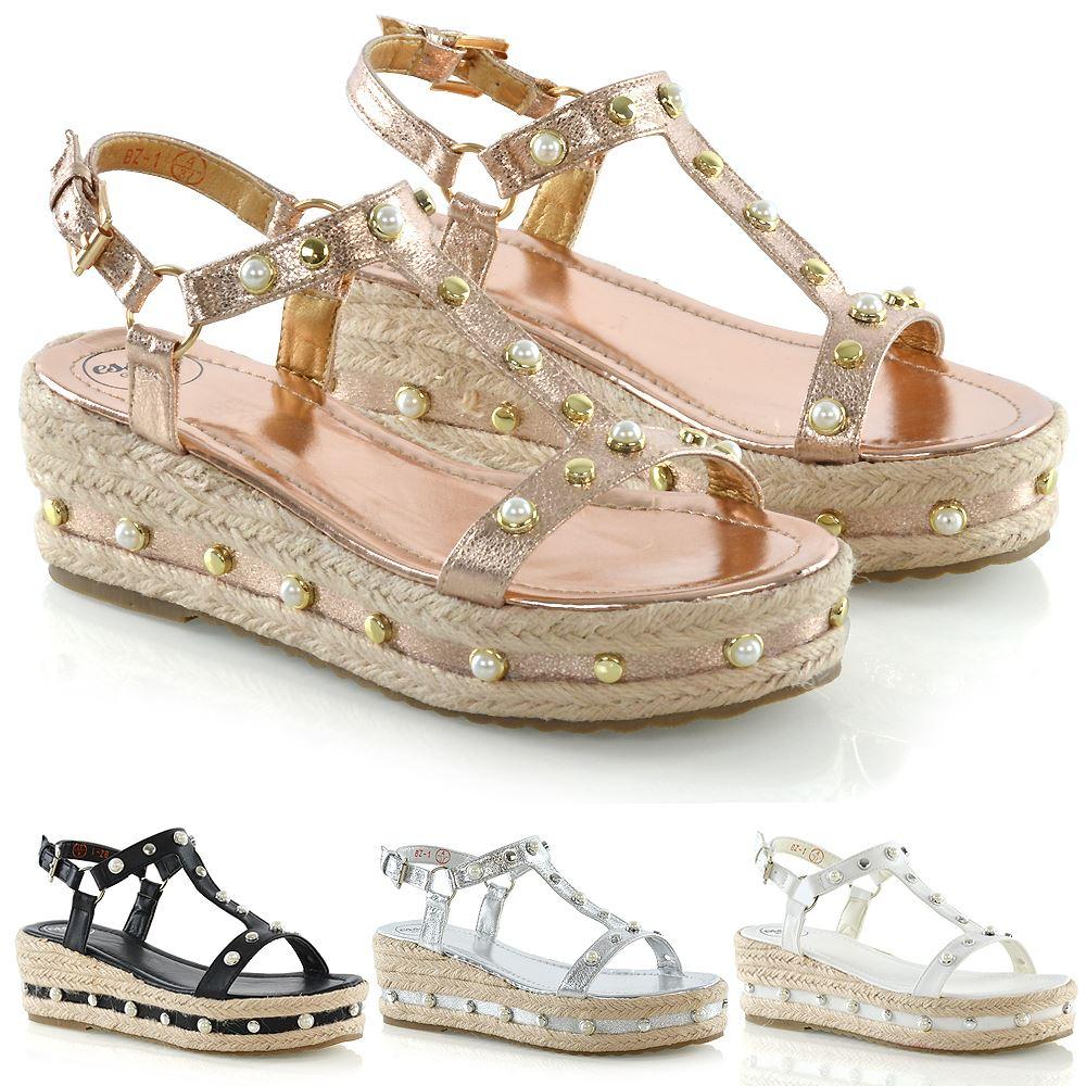 Womens Platform Low Heel Wedge Sandals
