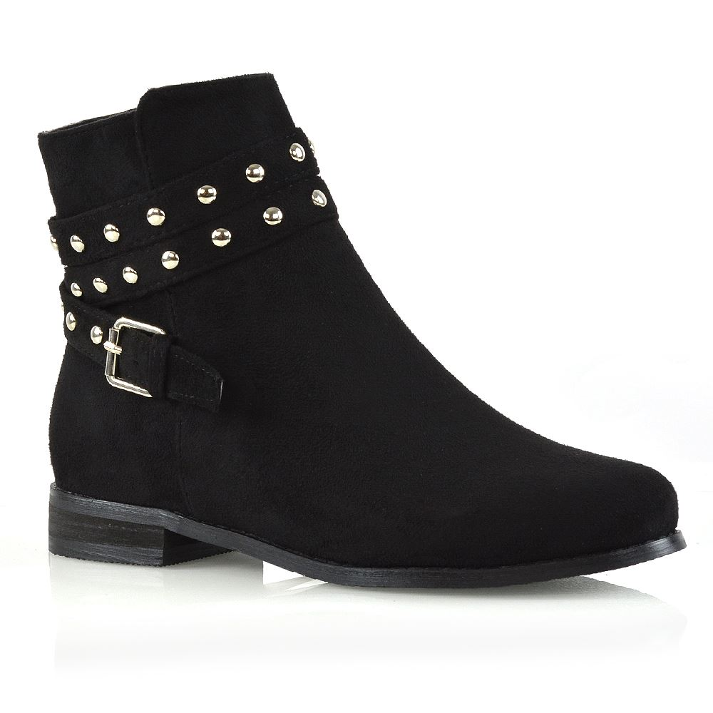 Womens Ankle Boots Flat Studded Straps Zip Pixie Chelsea Booties
