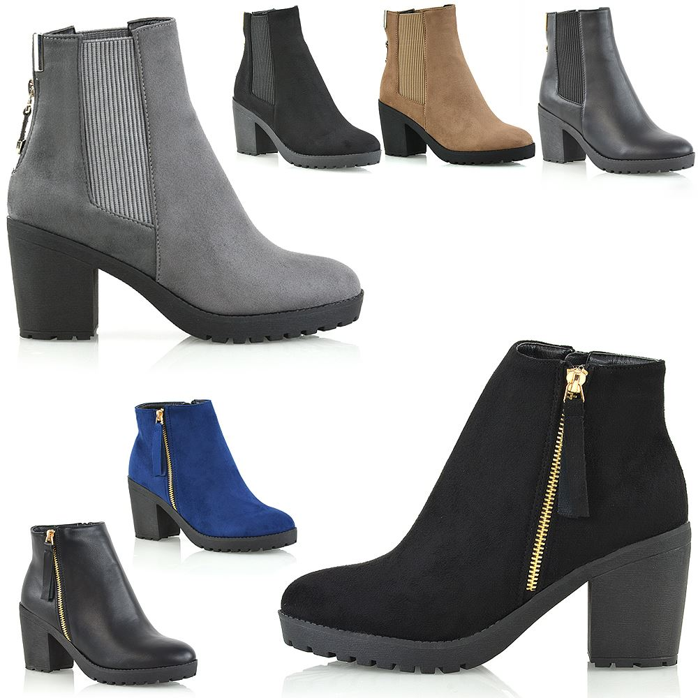 Ladies High Heel  Faux Suede Booties Ankle Biker Office Boots Shoes Size UK 3-8