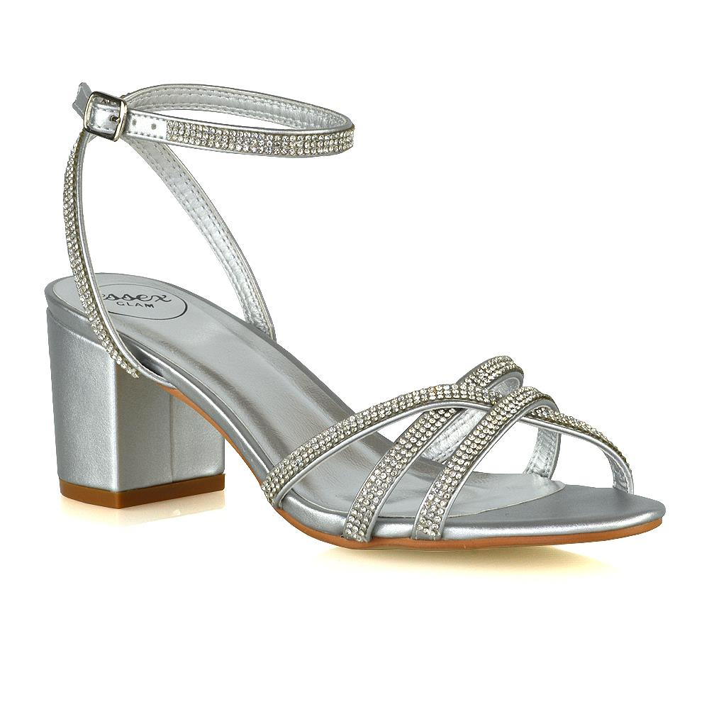 Details about Womens Low Heel Sparkly Shoes Ladies Bridal Party Diamante Strappy Sandals Size