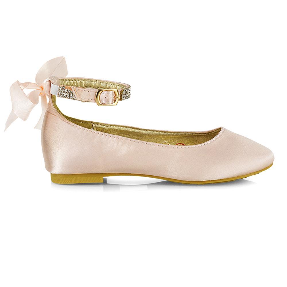 Girls Flat Ankle Strap Diamante Bow Children Bridal Party Ballet Pumps Shoes