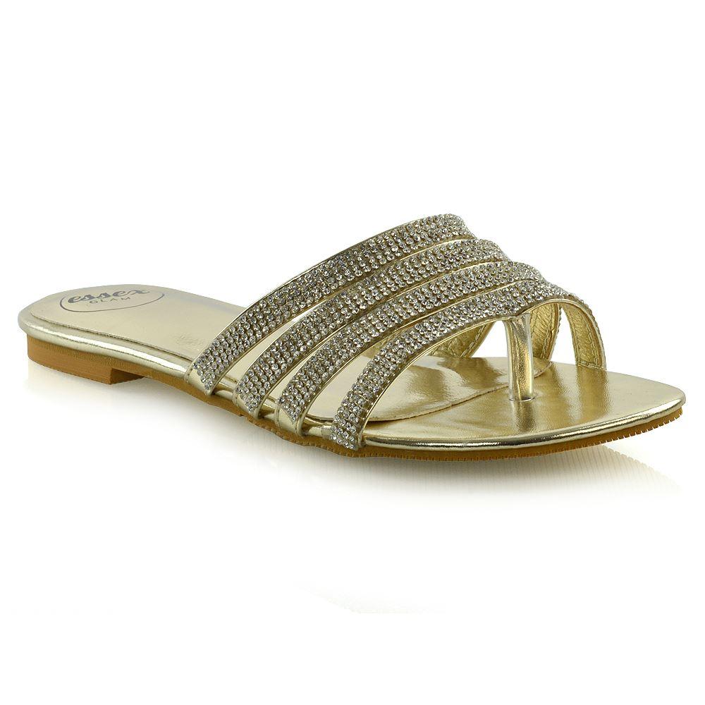 1324d2e19 Womens Strappy Slider Shoes Ladies Flip Flop Sparkly Diamante Toe Post  Sandals