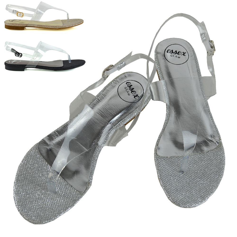 Details about Womens Flat Holiday Sandals Perspex Ladies Summer Beach Clear Slingback Shoes