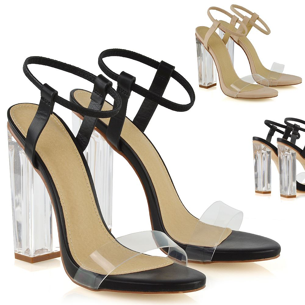 Details about Womens Perspex Heel Sandals Ladies Elasticized Ankle Strap Prom Party Shoes Size
