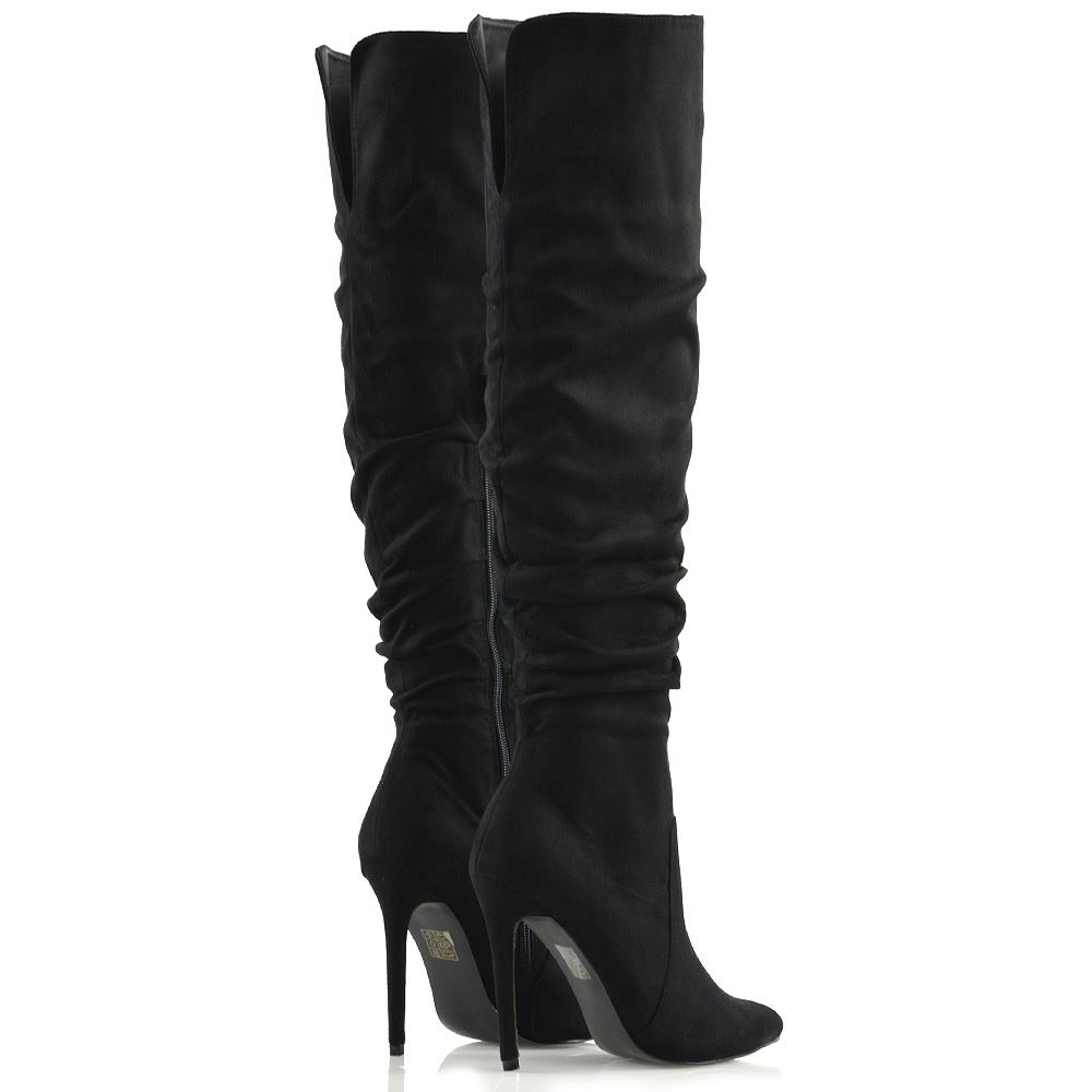 Show Gerüscht Original Stiletto High Ladies Casual Details 8 Womens About Knee Pointed Size New 3 Boots Title FlKTJc13