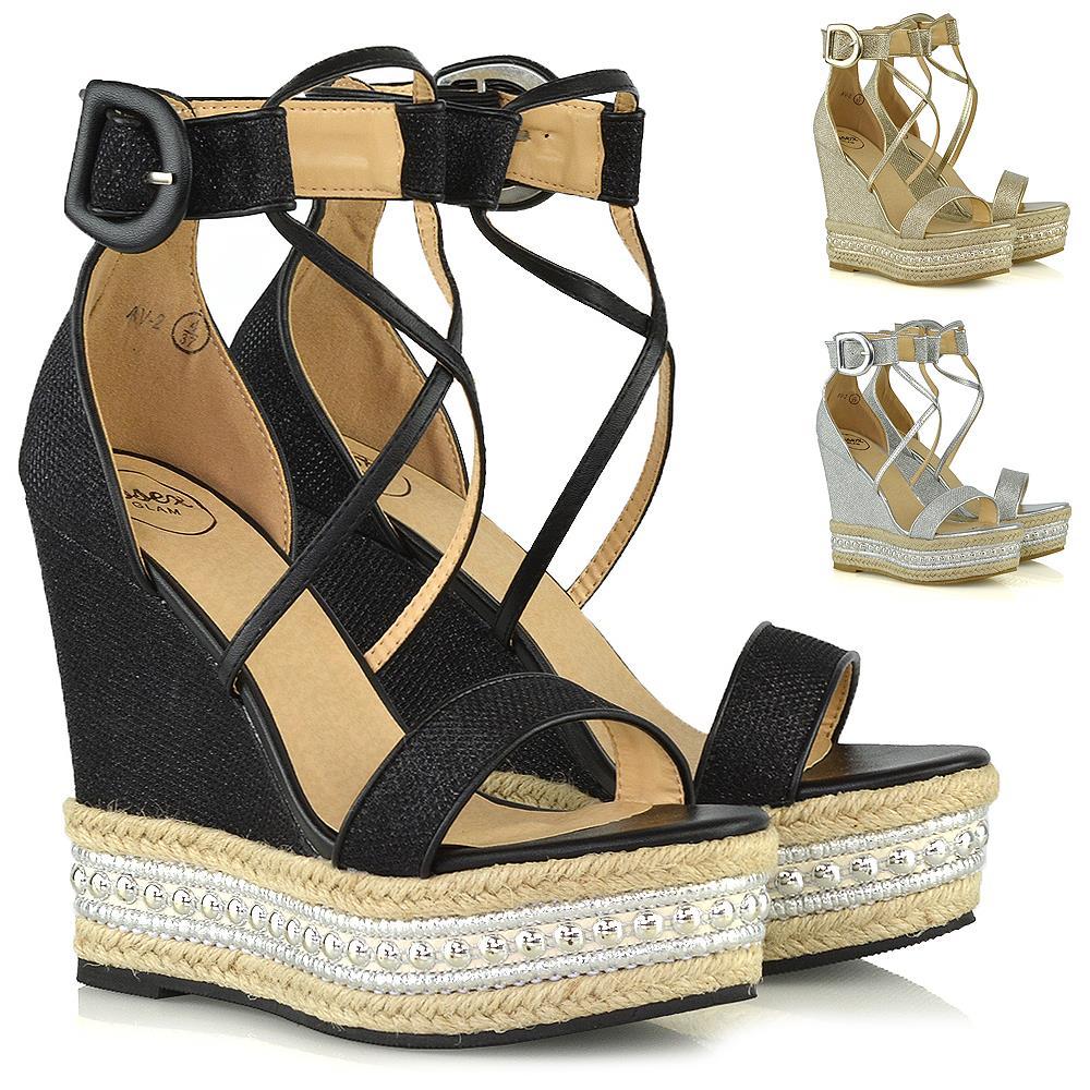 Womens High Heel Wedge Sandals Ladies