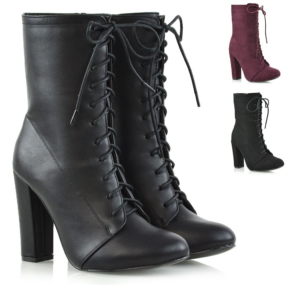 Womens High Heel Ankle Boots Ladies