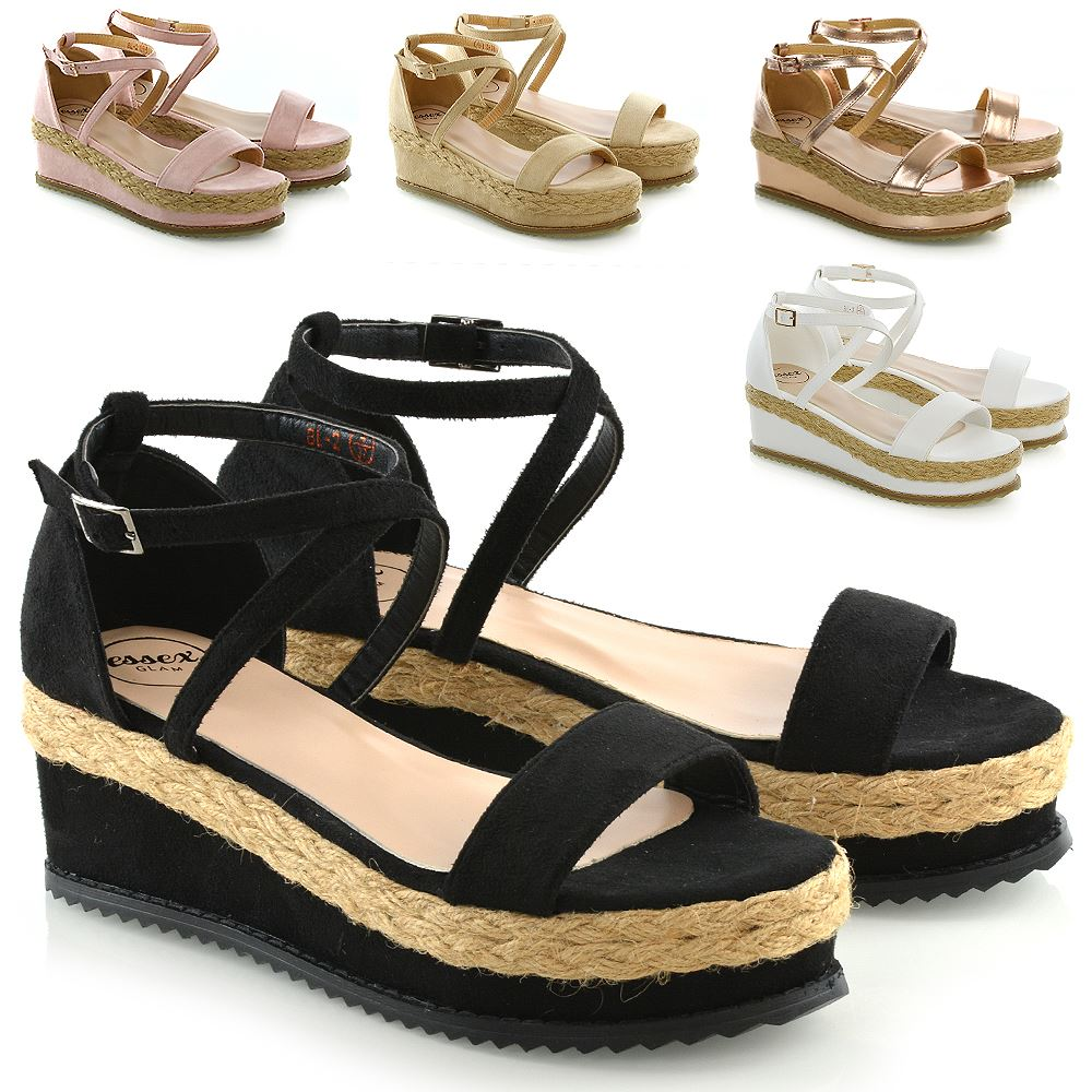 ad09fdc9b306 Womens Flat Wedge Espadrille Ankle Strap Ladies Platform Summer Sandals  Shoes 3-8