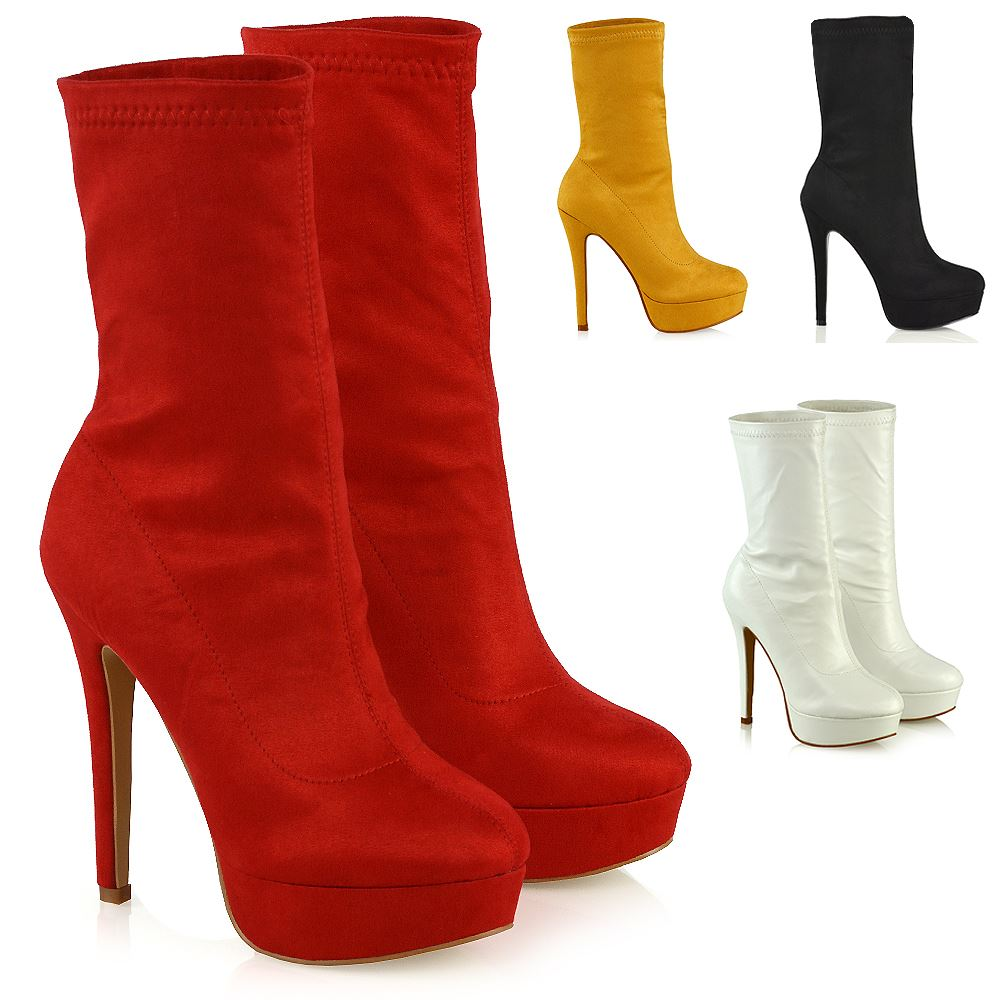 9a0b17a4eea Details about Womens High Rise Stretchy Calf Platform Shoes Ladies Pull On  Ankle Sock Boots
