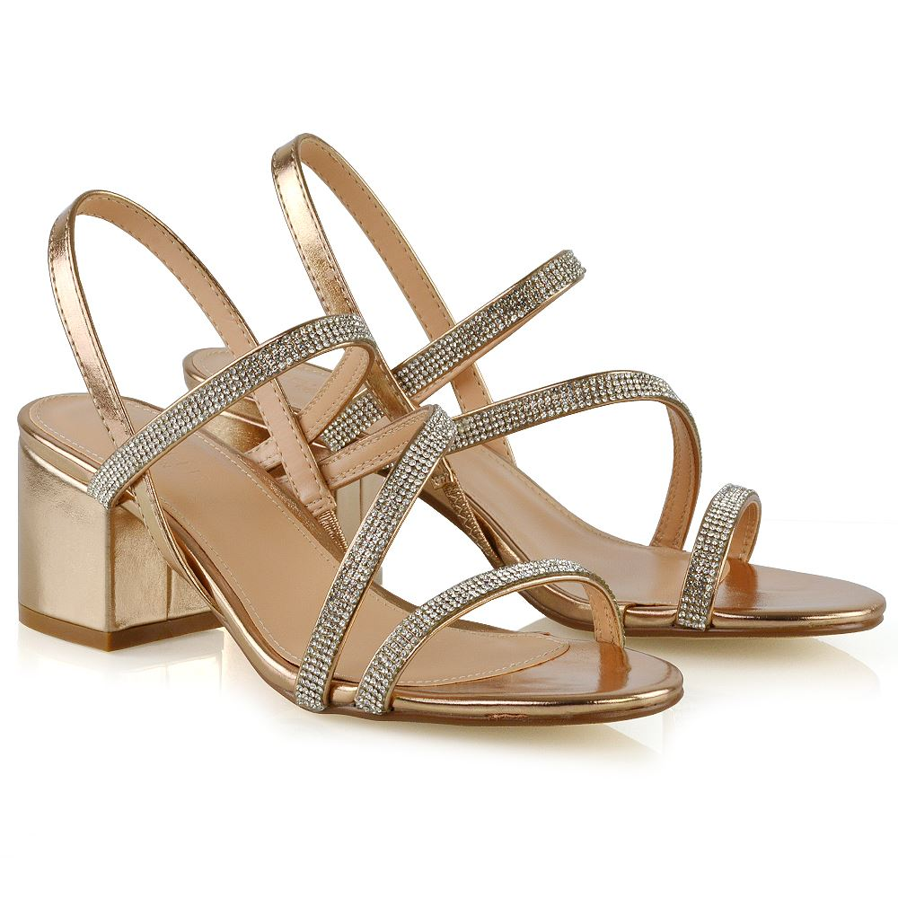 f026570bbaba Details about Womens Low Heel Strappy Sandals Ladies Gold Silver Diamante  Bridal Party Shoes