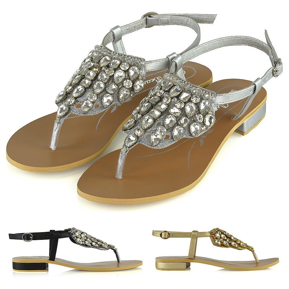 Womens Flat Sandals Slingback Diamante
