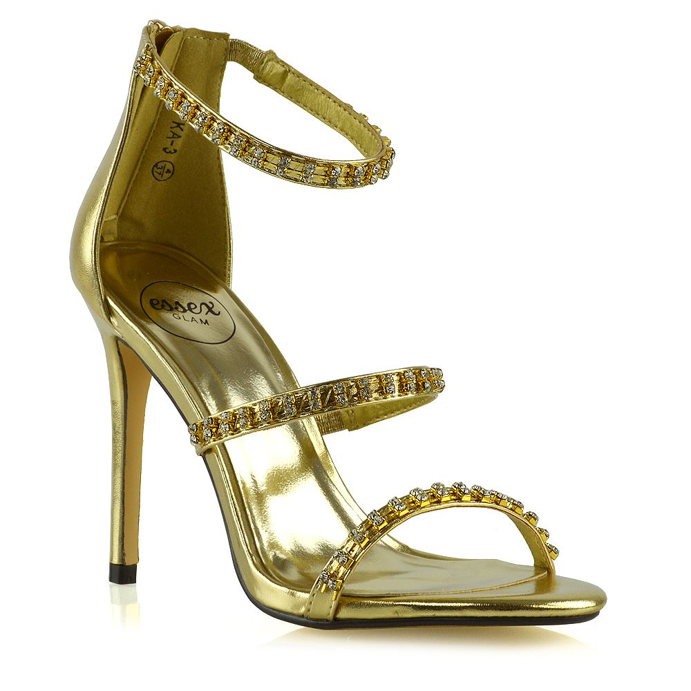 f8cb0b586 Womens Stiletto High Heel Strappy Sandals Ladies Diamante Party Prom Shoes  Size