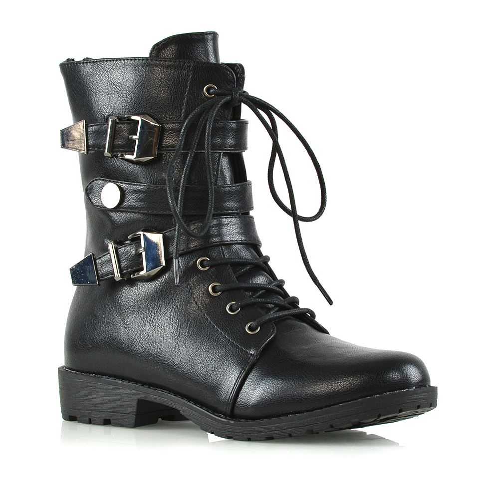 a0d0c5638930 New Womens Lace Up Biker Ankle Mid Calf Ladies Buckles Zip Military Combat  Boots