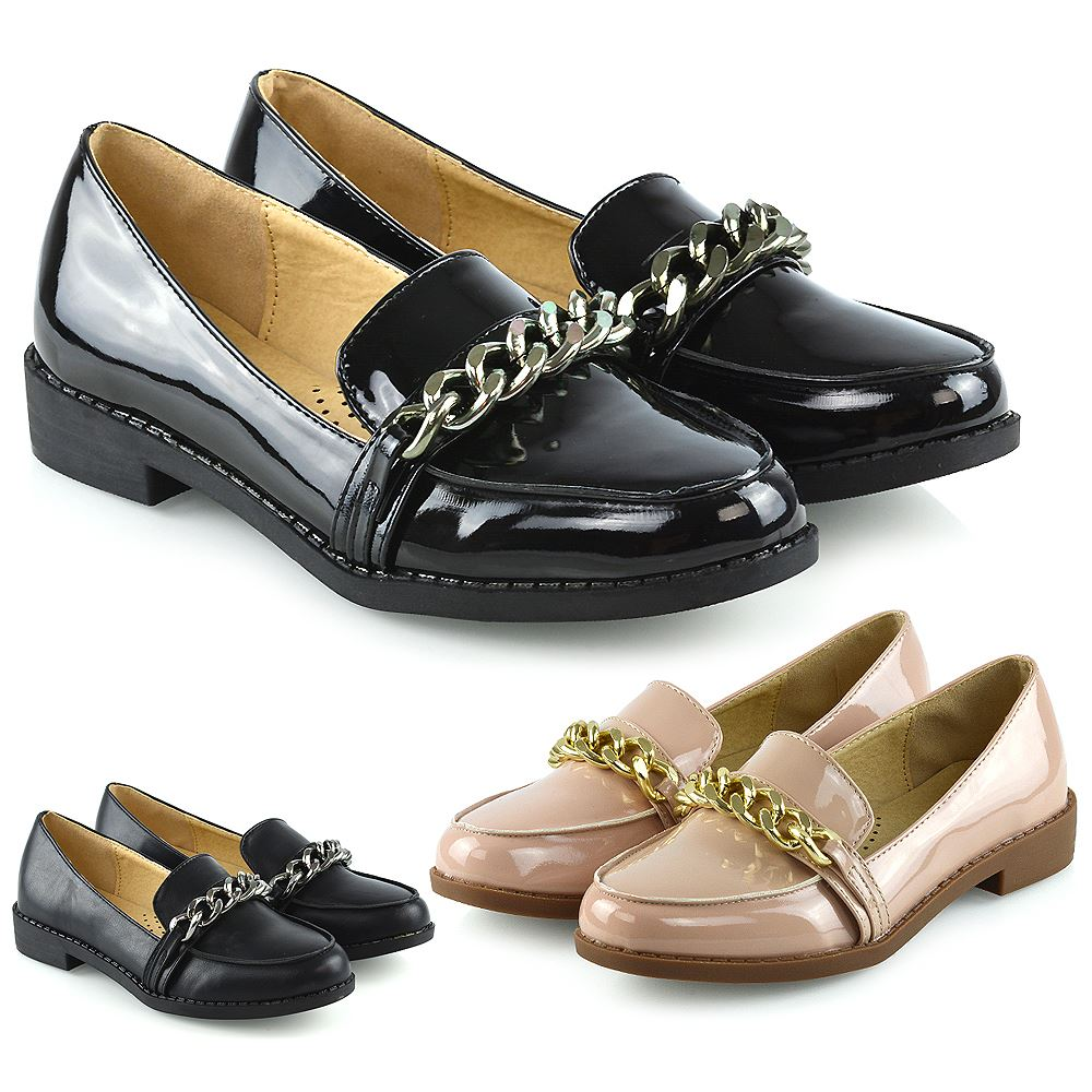 Womens Slip On Loafers Shoes Ladies Casual Chain Trim Work School Pumps  Size 3-8   eBay