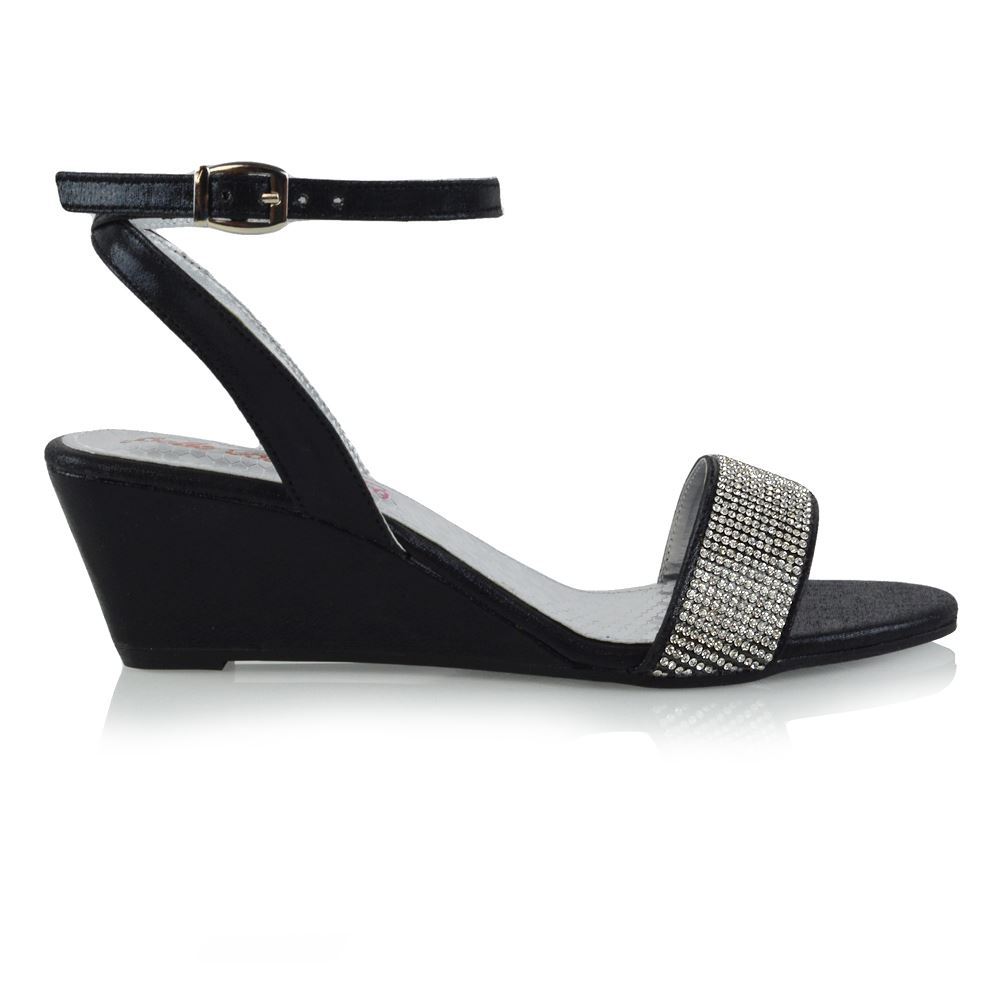 Womens Ankle Strap Wedge Heel Sandals Ladies Diamante Holiday Casual Shoes Size