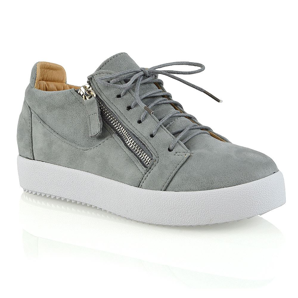2570c333b57f Womens Casual Sneakers Flat Lace Up Zip Pumps Ladies Comfy Trainers Shoes  Size