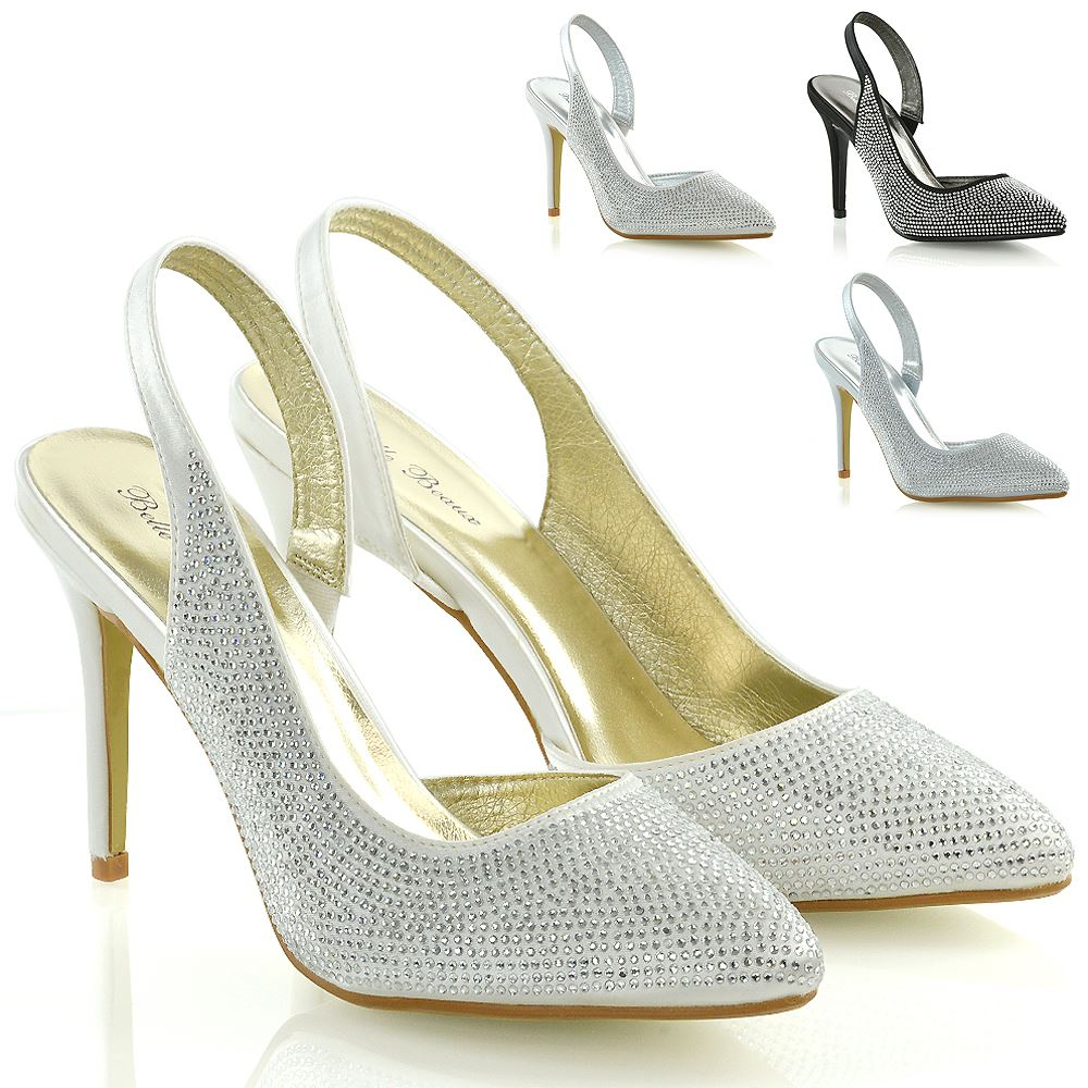 3555143be5a Womens Bridal Shoes Satin Diamante Ladies Slingback Party Prom Point Toe  Courts
