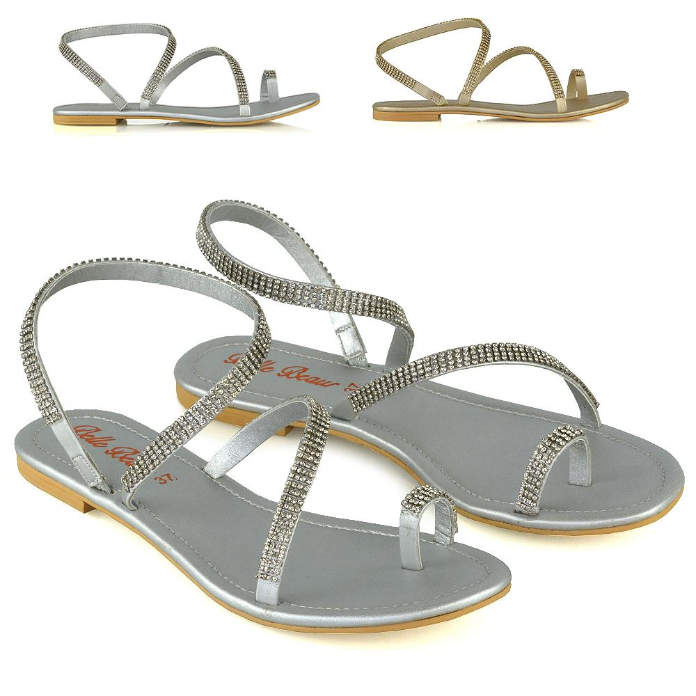 Womens Ladies Toe Post Gladiator Sandals Flat Strappy Diamante Shoe 3 4 5 6 7 8