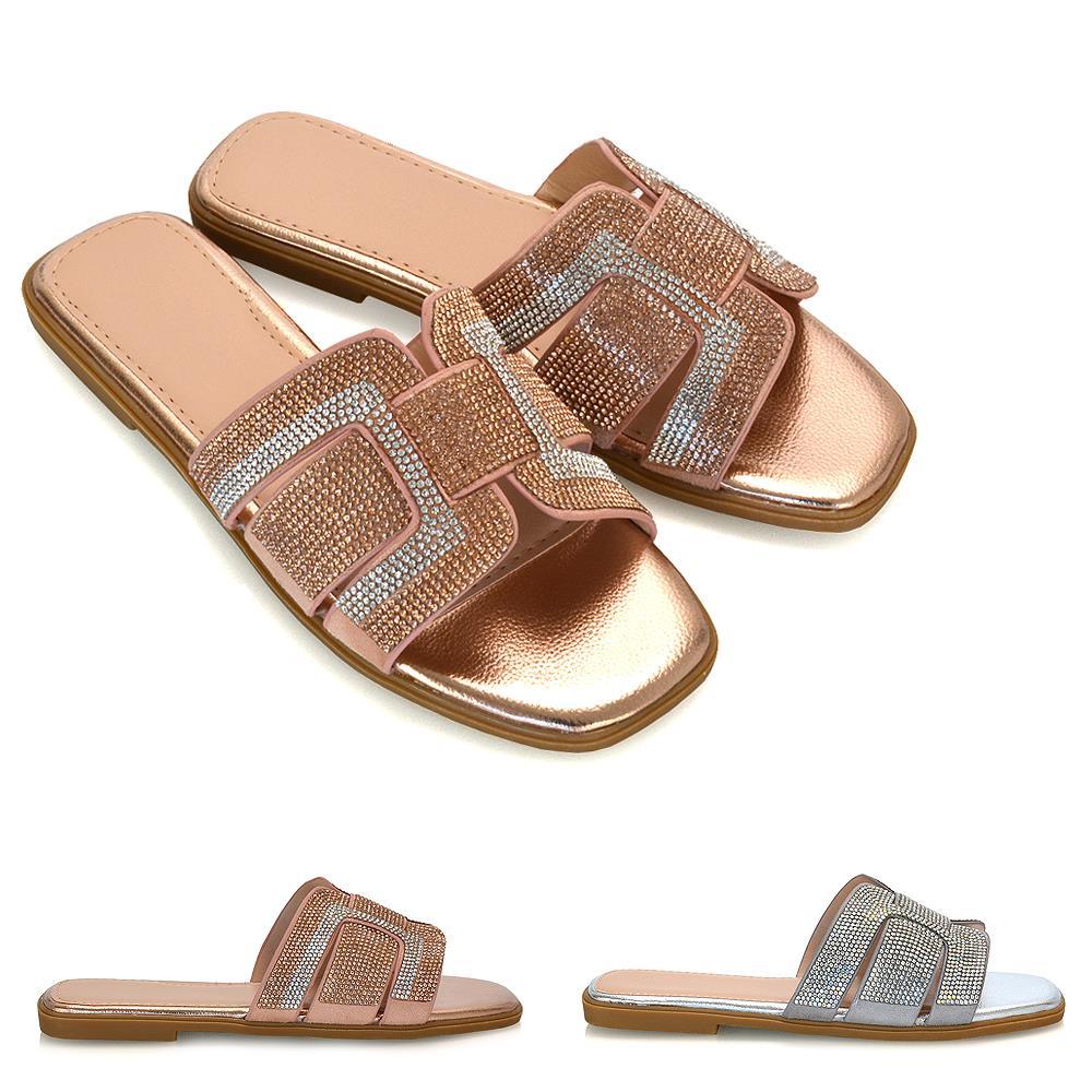 Womens Ladies Flat Diamante Sliders Slip On Summer Sandals Mules Slippers Size