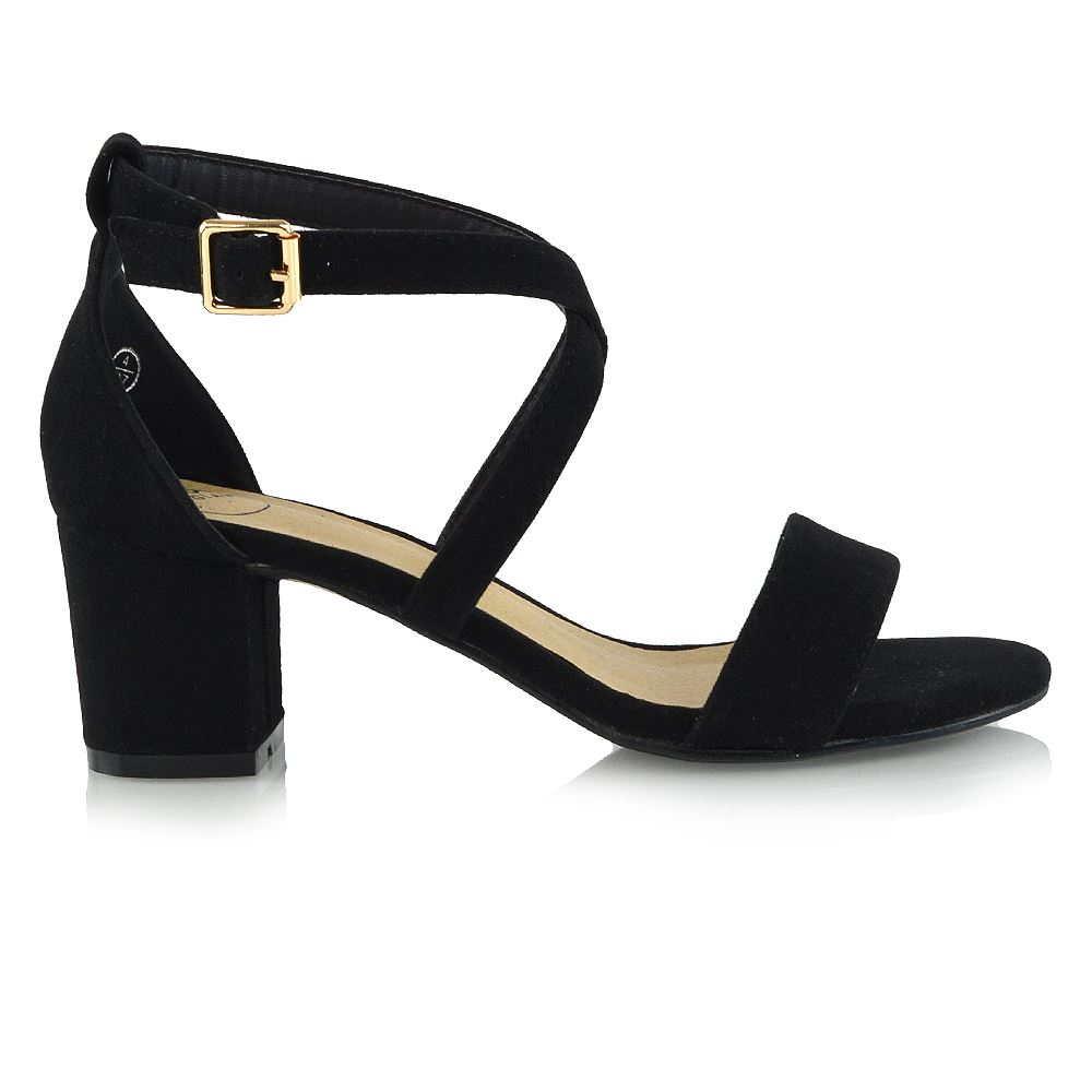 Details about WOMENS STRAPPY SANDALS BLOCK LOW HEEL LADIES ANKLE STRAP PARTY EVENING SHOES 3 8