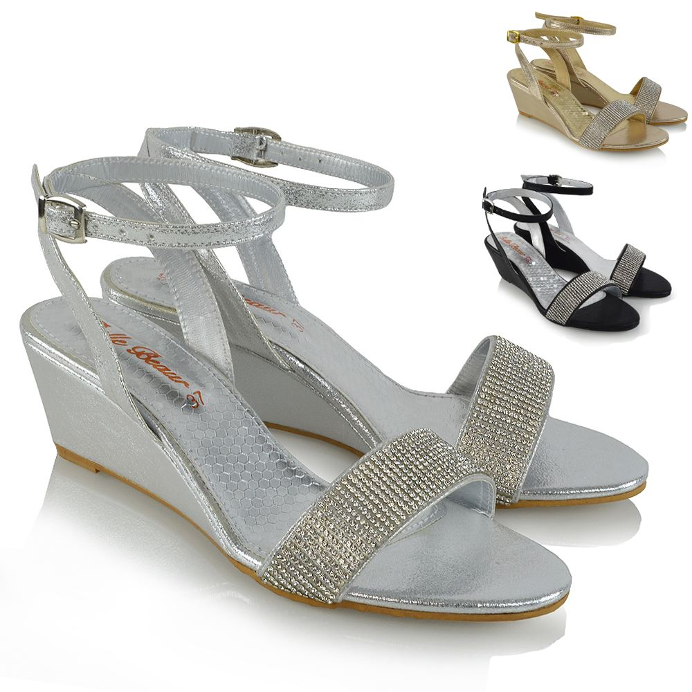 Details about Womens Ankle Strap Wedge Heel Sandals Ladies Diamante Holiday Casual Shoes Size