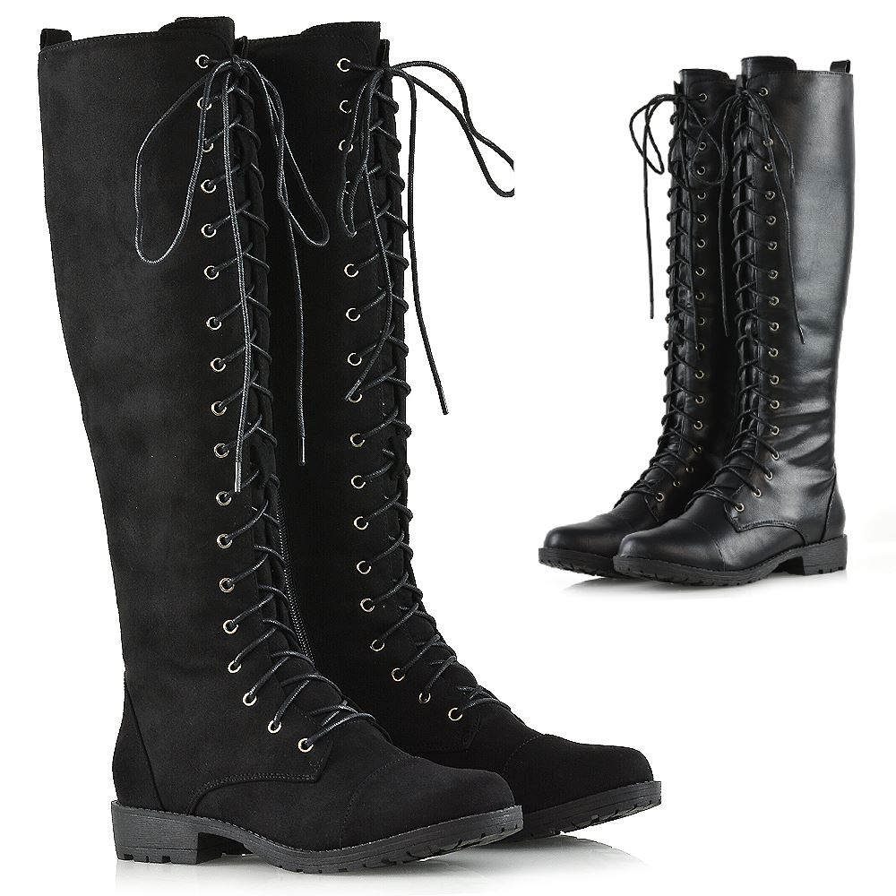 7f6bcda2d47 Details about Womens Knee High Lace Up Calf Biker Ladies Zip Punk Military  Combat Army Boots
