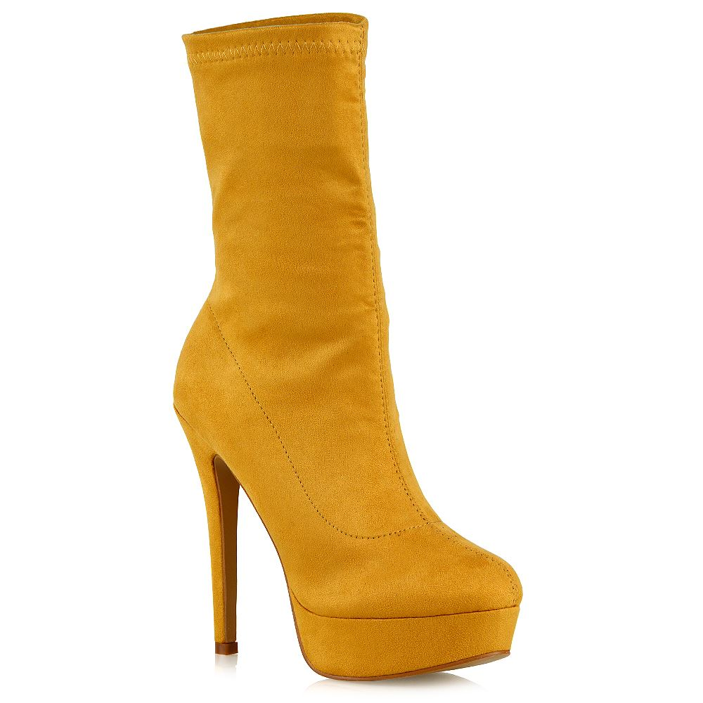 2f81b1c23d0 Womens High Rise Stretchy Calf Platform Shoes Ladies Pull On Ankle Sock  Boots