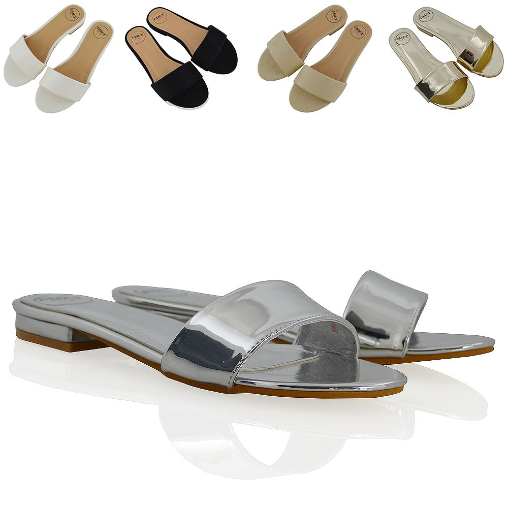 Details about NEW WOMENS FLAT SANDALS SLIP ON SLIDERS LADIES CASUAL FORMAL SMART MULE SHOES