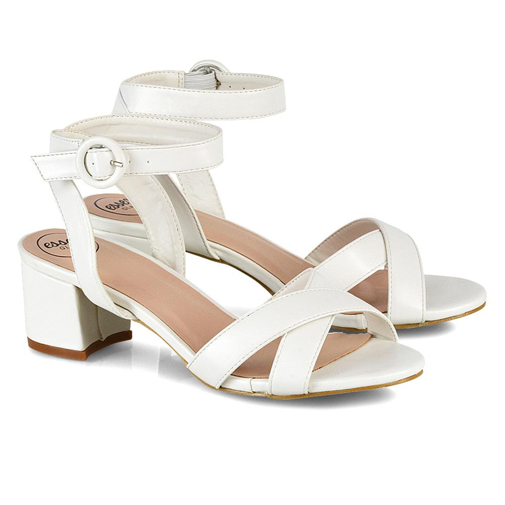 Details about Womens Mid Low Block Heel Peep Toe Ladies Ankle Strap Strappy Party Sandals Size