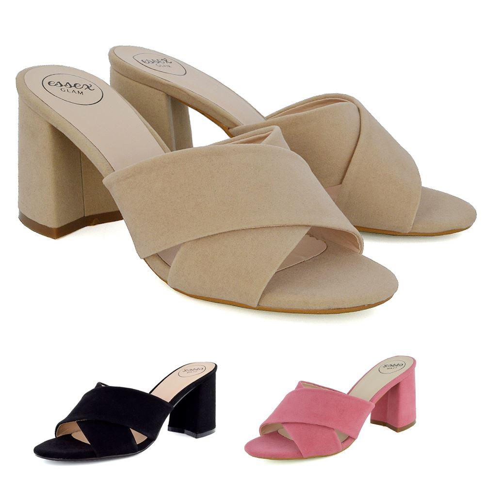 Womens Slip On Shoes Block Heel Mule Ladies Open Back ...