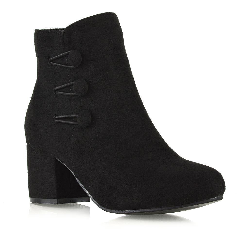 New Ladies Trendy Womens Black Ankle Smart Suede High Block Heel Boots Shoes Zip